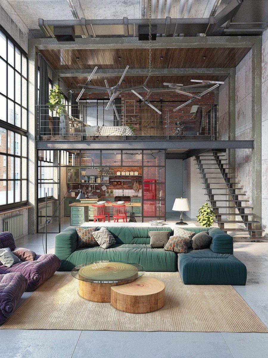 Loft lakás színes konyha és zöld kanapé