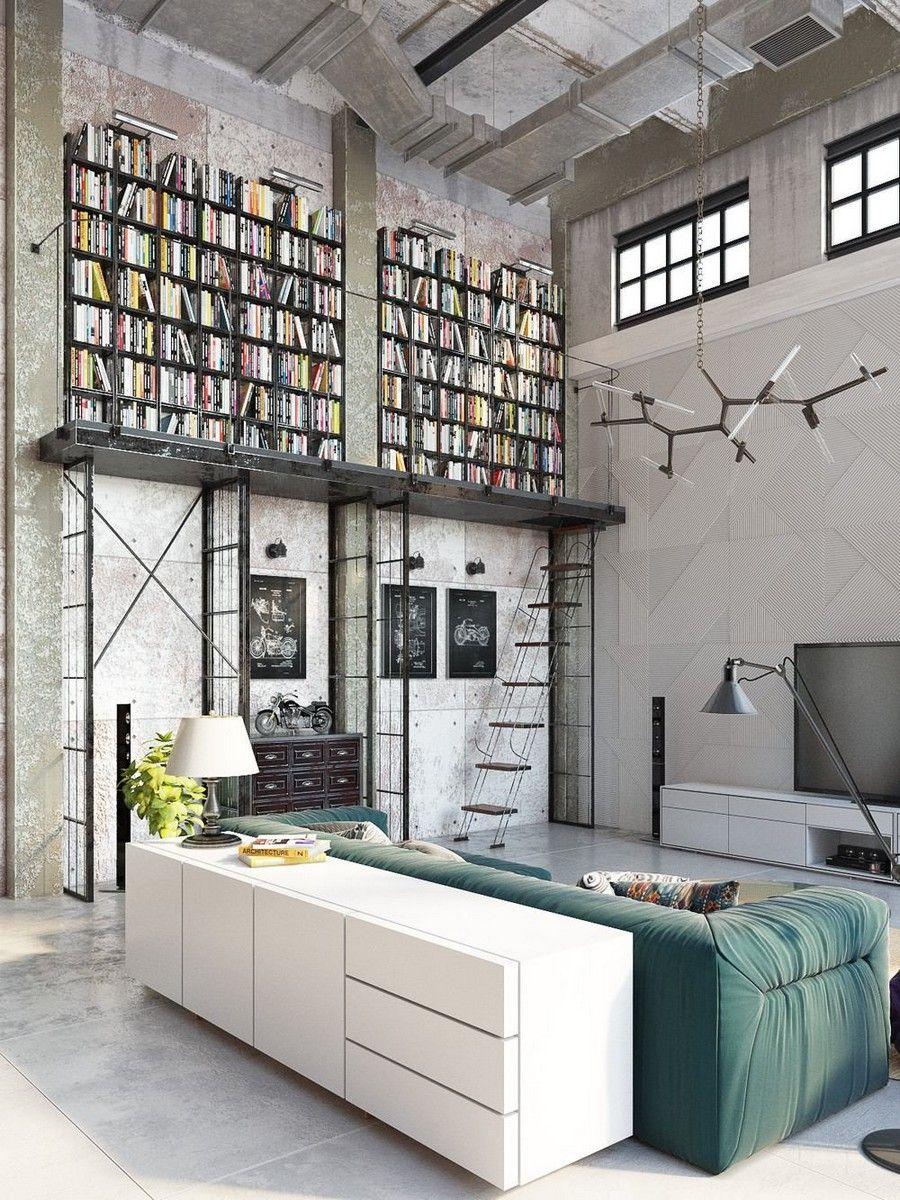 Loft lakás belső könyvtárral