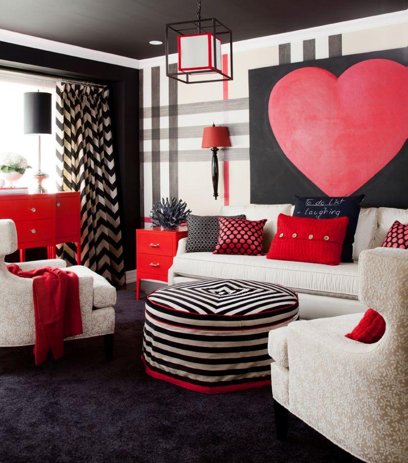 Nappali dekoráció piros fekete és fehér színnel