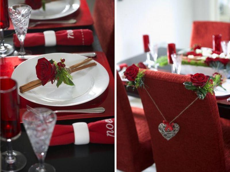 Piros dekoráció Valentin napra étkezőbe