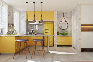 Laza skandináv lakberendezés egy minilakásban, mustársárga konyhával