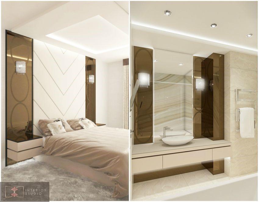 Modern art deco hálószoba és fürdőszoba