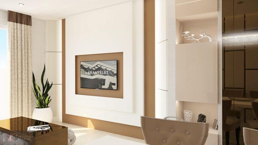 Dóró Judit lakberendező nappali fal tv fal