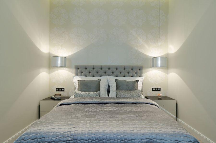 Hálószoba elegáns ezüstös színben