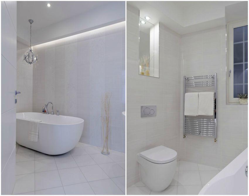 Fehér dürdőszoba térben álló fürdőkáddal