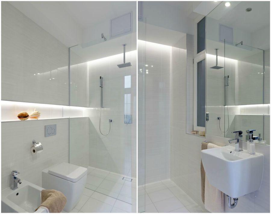 Igényes fehér zuhanyzó modern szaniterekkel
