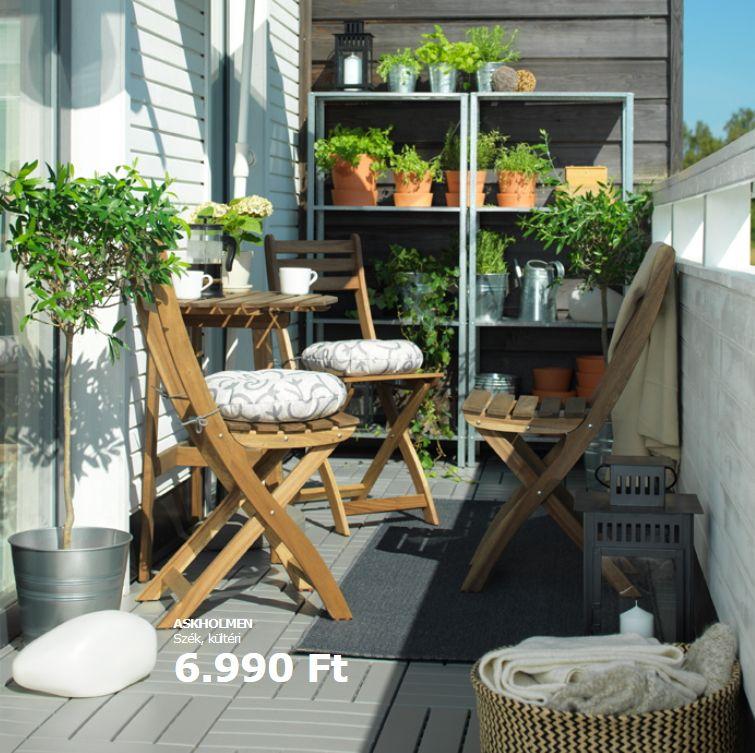 Ikea tömörfa szék erkélyre