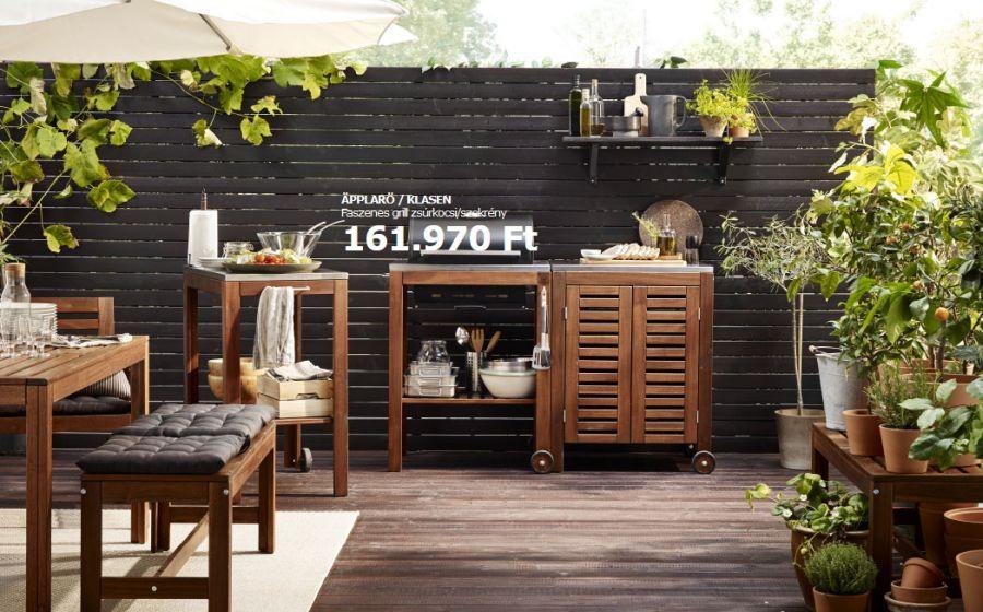 Faszenes grill zsúrkocsi és szekrény összeállítás. Ikea