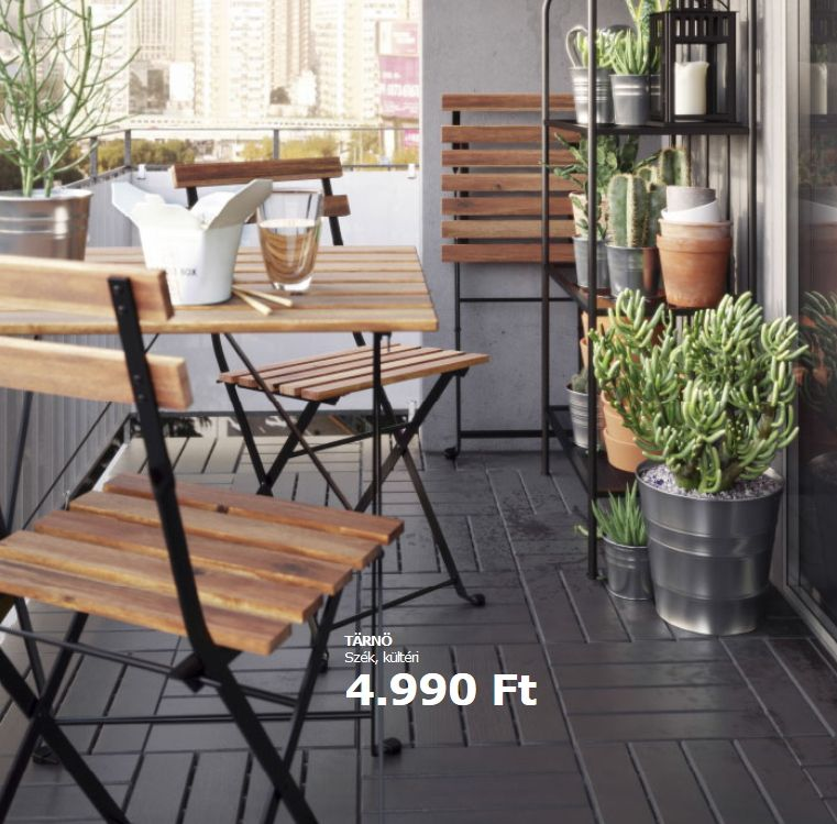 Fa és fém Ikea kerti bútor