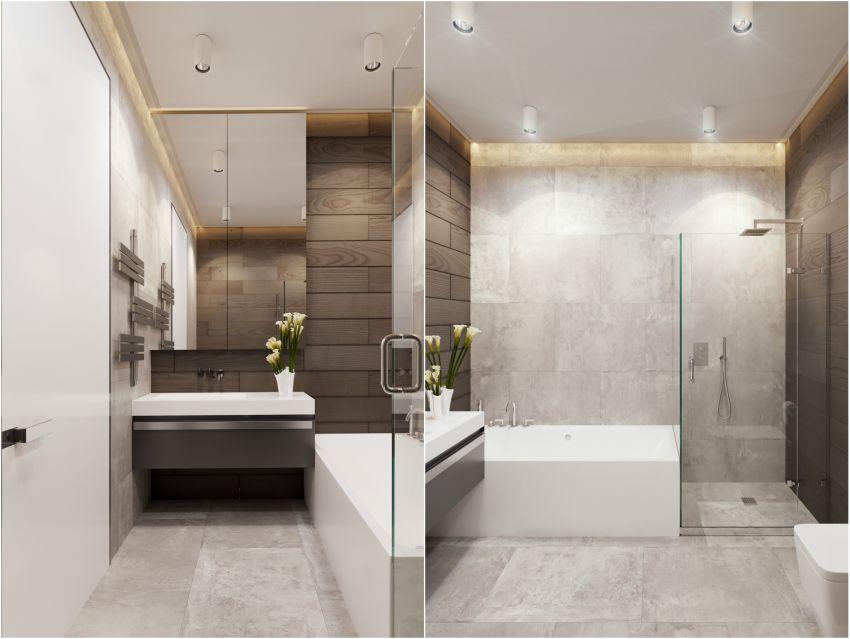Modern gyerekszobai fürdőszoba fürdőkáddal
