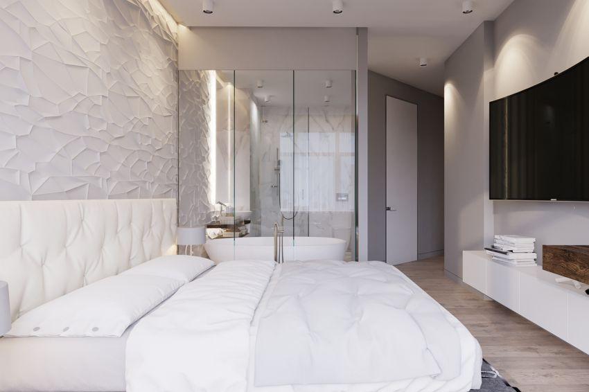 Üvegfallal elválasztott fürdőszoba