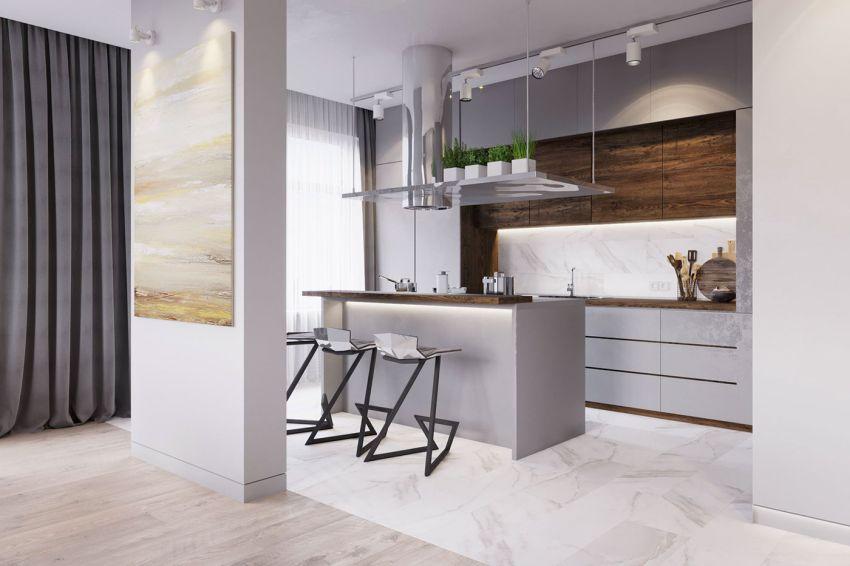 Modern szigetes konyhabútor szürke színben