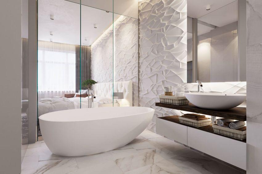 Ovális fürdőkád, 3d burkolat a fürdőszobában