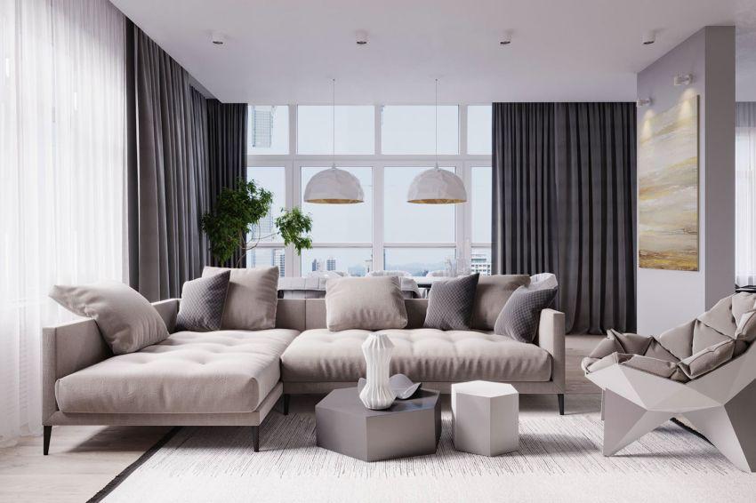Modern nappali semleges színekkel