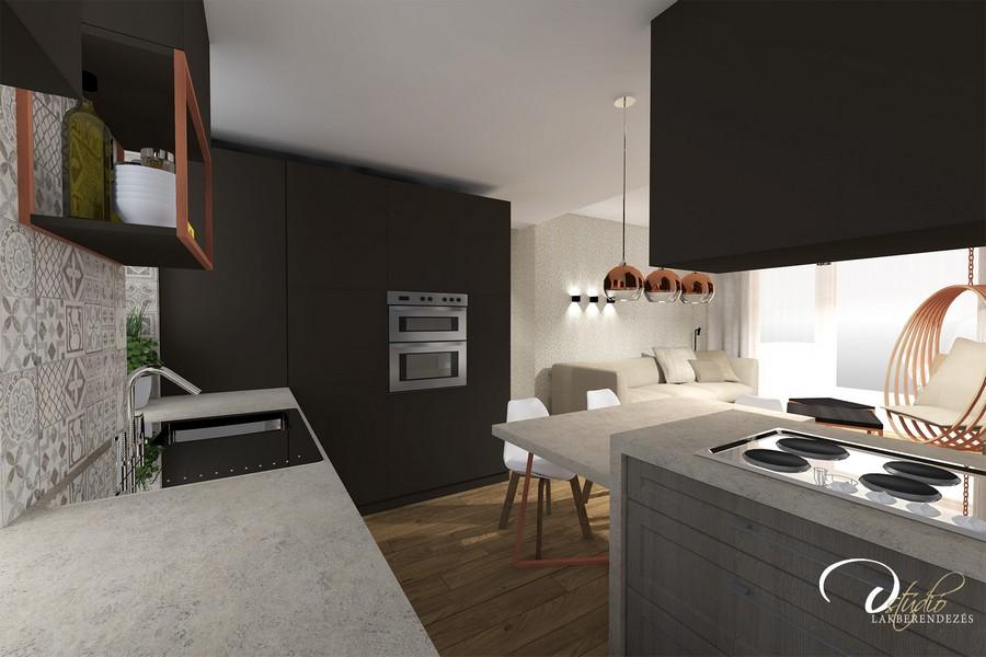 Modern konyha látványterve D-Stúdió Győr