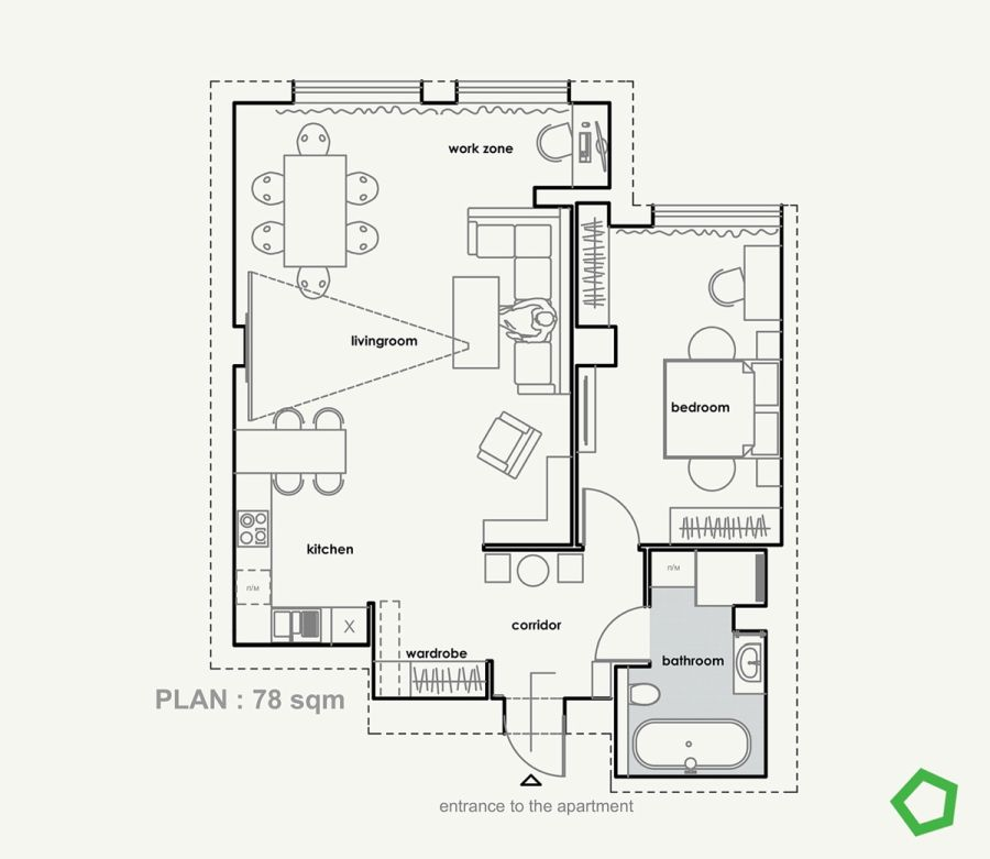 78 m2-es lakás alaprajza
