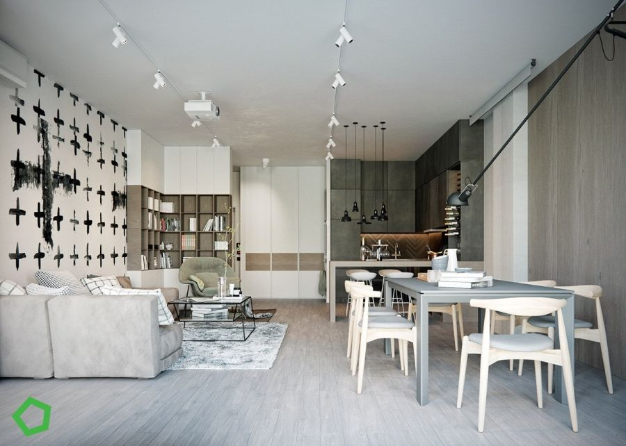 Étkező, konyha és nappali egy térben