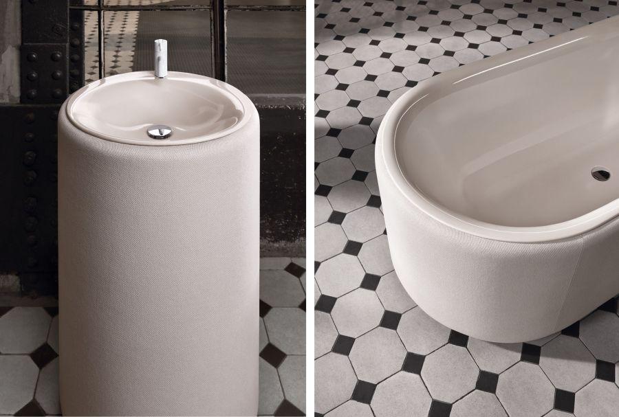 BetteLux Oval Couture kárpitozott fürdőkád és mosdó