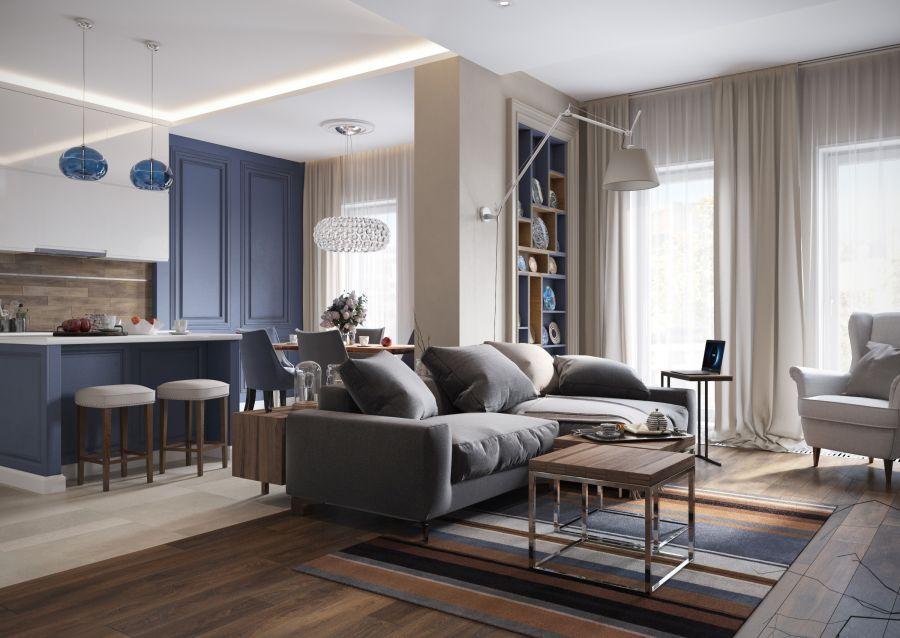 Lakberendezés kék színnel konyha és nappali