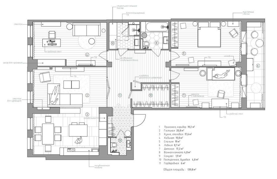 Szentpétervári lakás berendezési terv