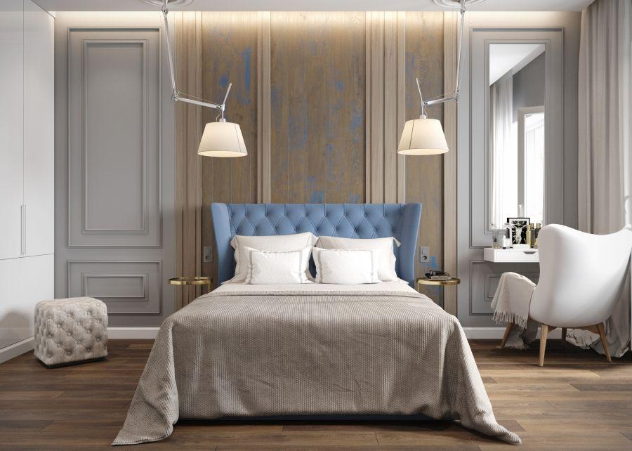 Gyönyörű hálószoba kék franciaággyal