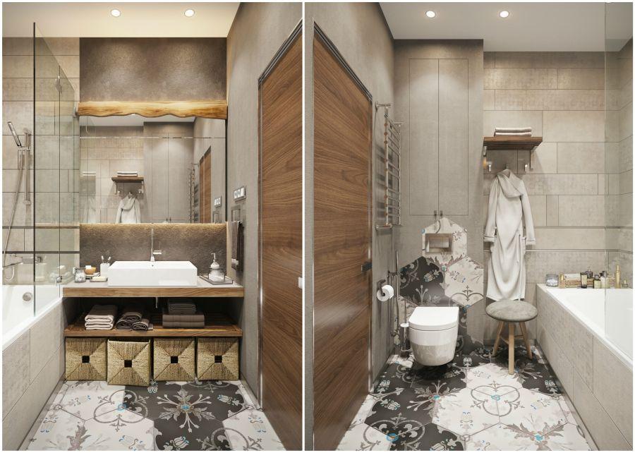 Modern fürdőszoba hatszögletű lapokkal