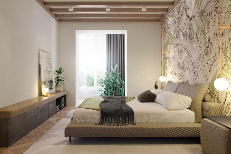Letisztult hálószoba fali olvasólámpákkal