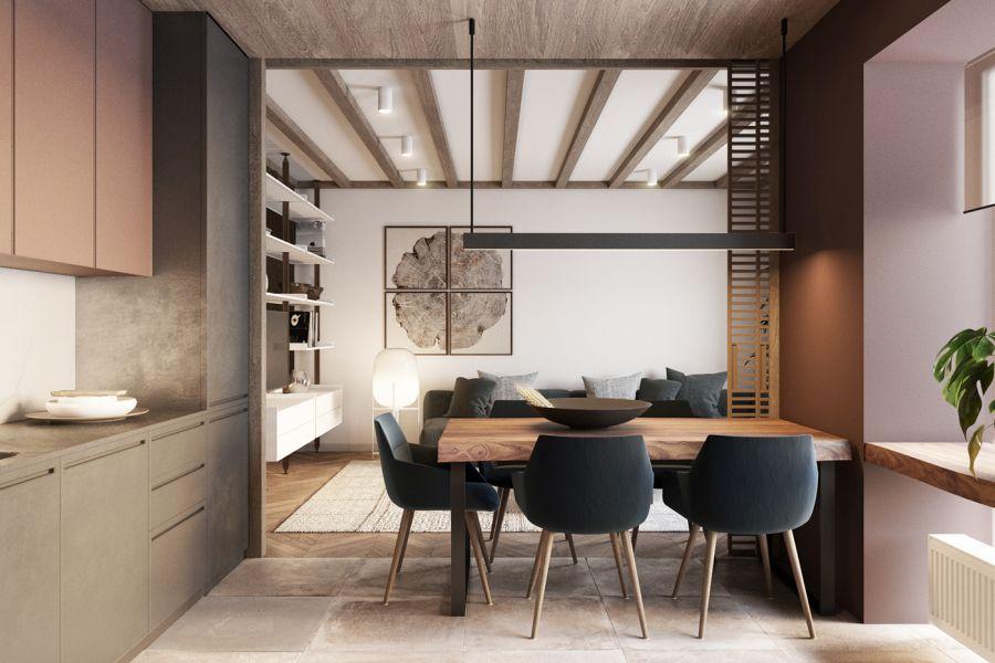 Letisztult konyhabútor design és étkező