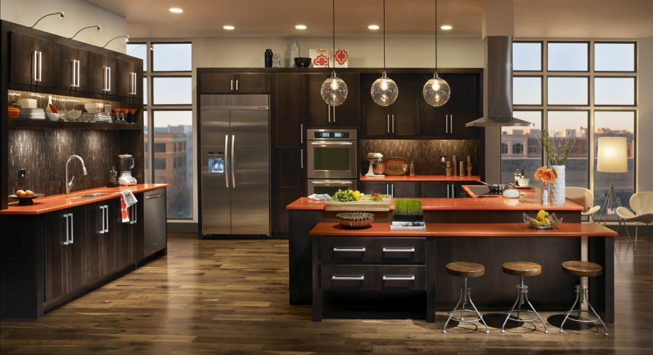 Sötétbarna modern konyha