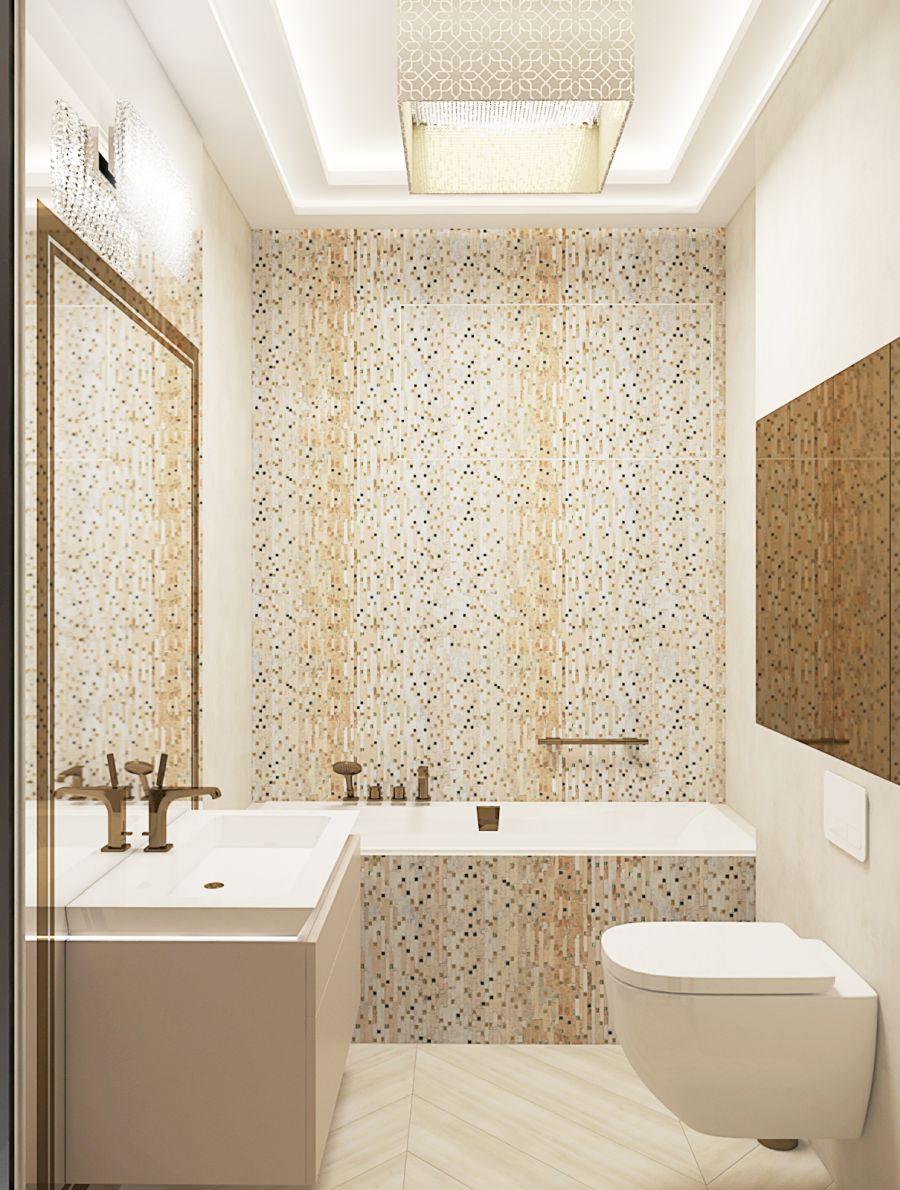 Fürdőszoba mozaikkal Dóró Judit belsőépítész, lakberendező