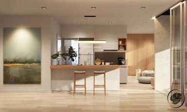 Kompakt kis lakás meleg színekkel, projektorral, tolóajtós hálószobával