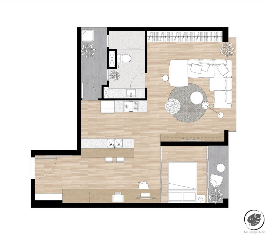 Kis lakás lakberendezési alaprajza