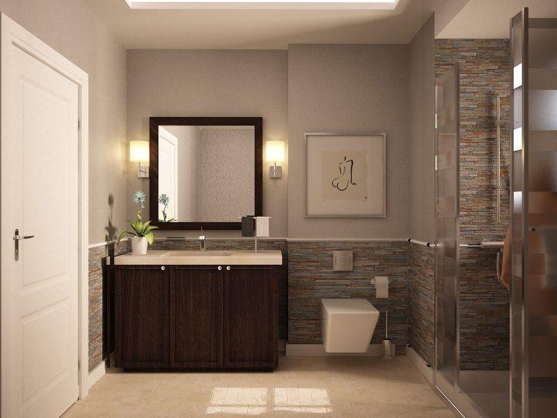 Taupe falszín fürdőszobába