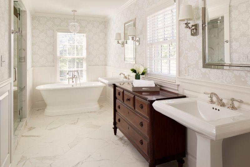 Klasszikus tapéta fürdőszobába