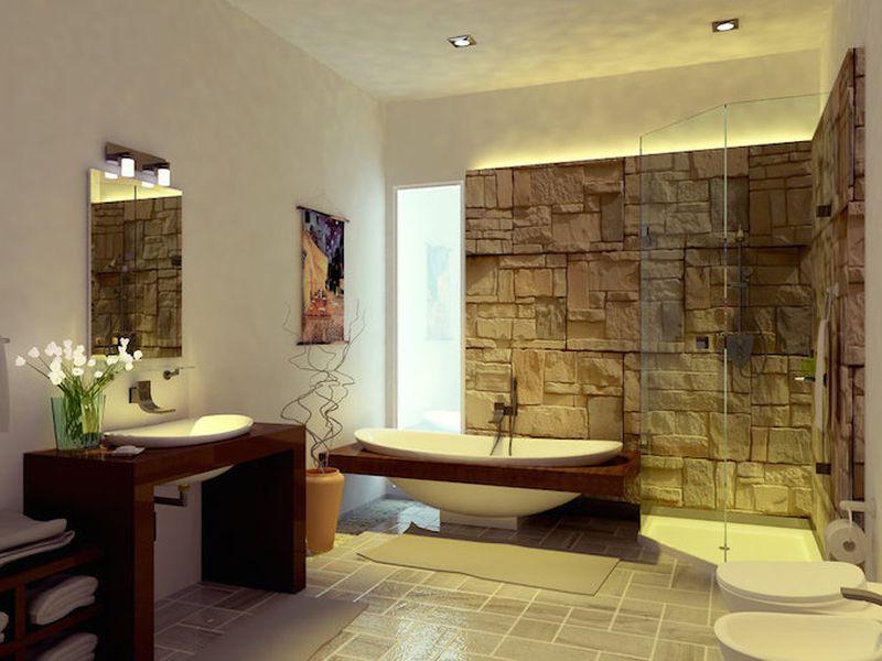 Rusztikus kőburkolat fürdőszobában