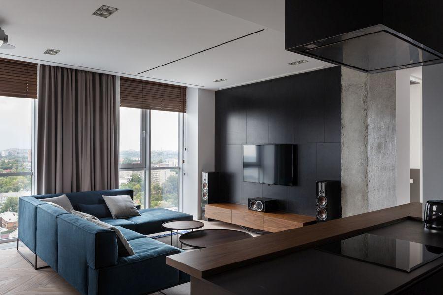 Fekete dekorburkolat nappaliban