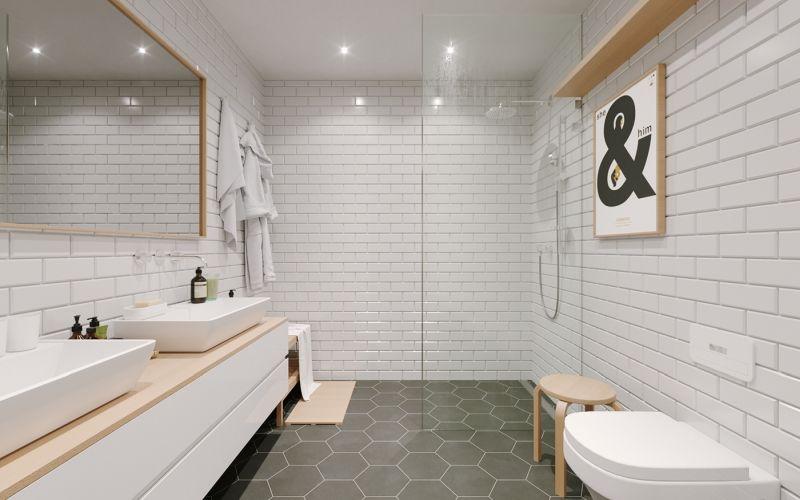 Skandináv modern fürdőszoba fehér csempékkel