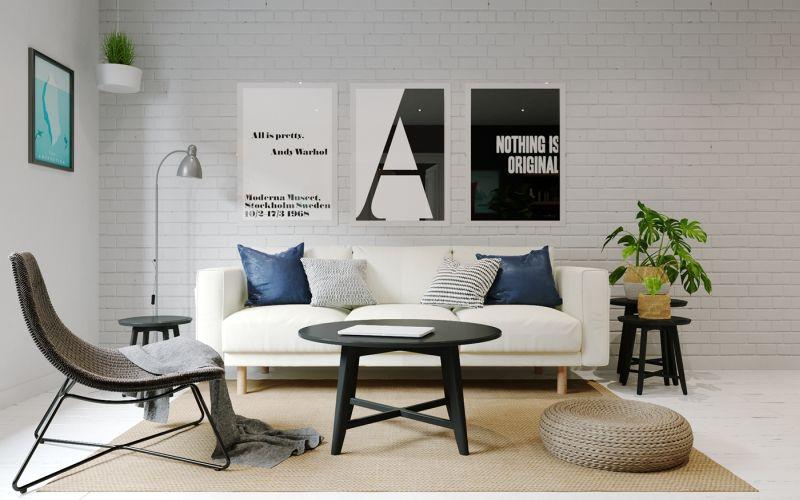 Modern nappali skandiáv lakberendezéssel