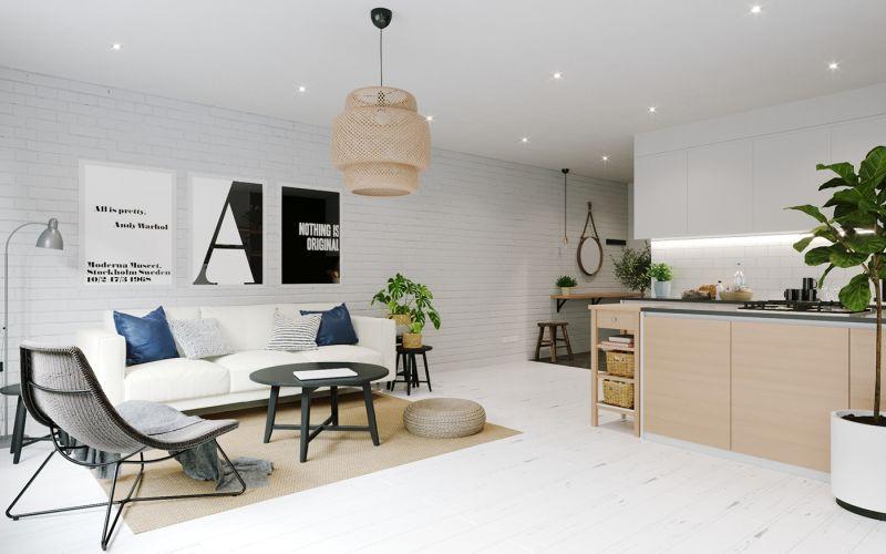 Modern városi lakás nappalija skandiáv lakberendezéssel