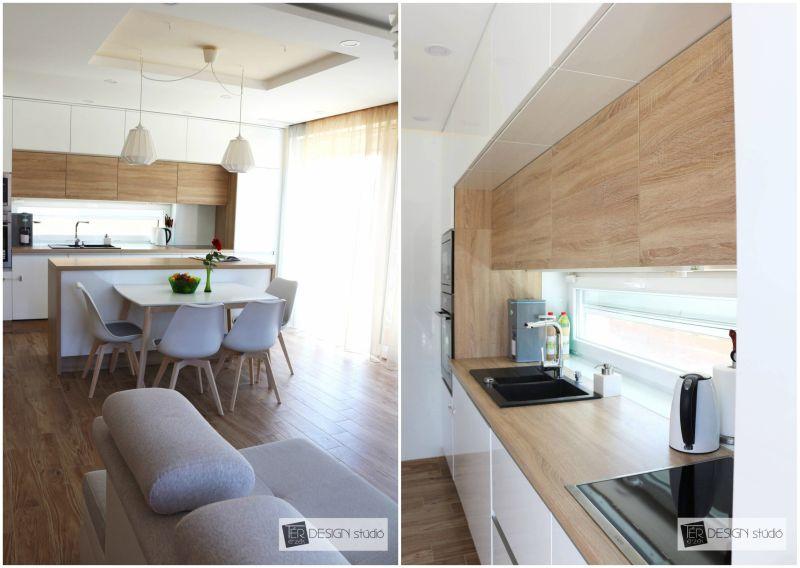 Egy térben a nappalival és a konyhával