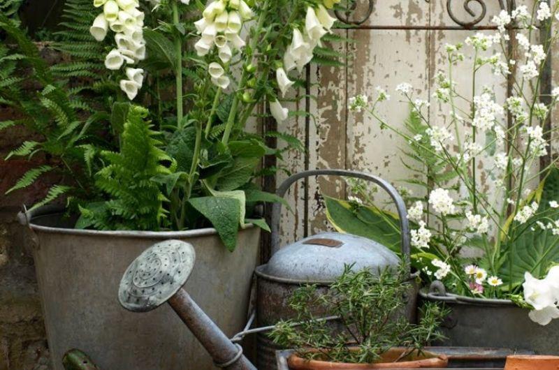 Vintage kert régi kannával szerszámokkal