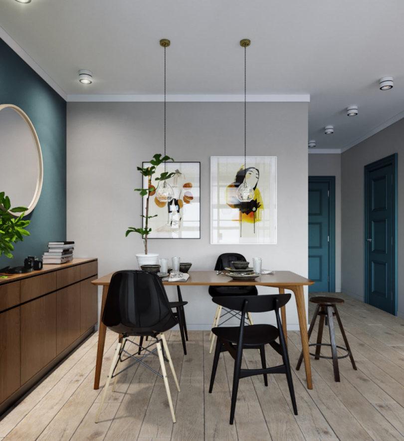 Modern étkező 45 m2-es kis minilakásban
