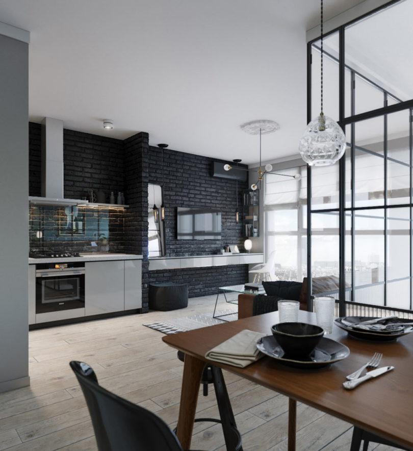 45 m2-es lakás fekete konyhafallal