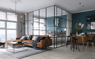 45 m2-es kis lakás diszkréten szeparált hálóval, dinamikus falszínekkel