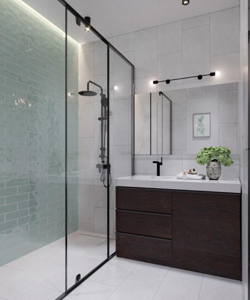 Modern vintage hangulatú fürdőszoba