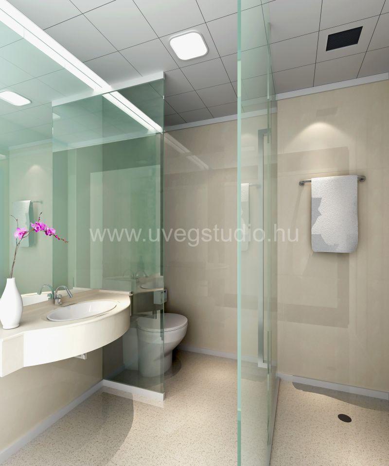 Nyitott zuhanykabin üvegfallal