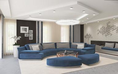 Szögletes formák art-deco stílusjegyekkel egy modern 130 nm-es családi házban