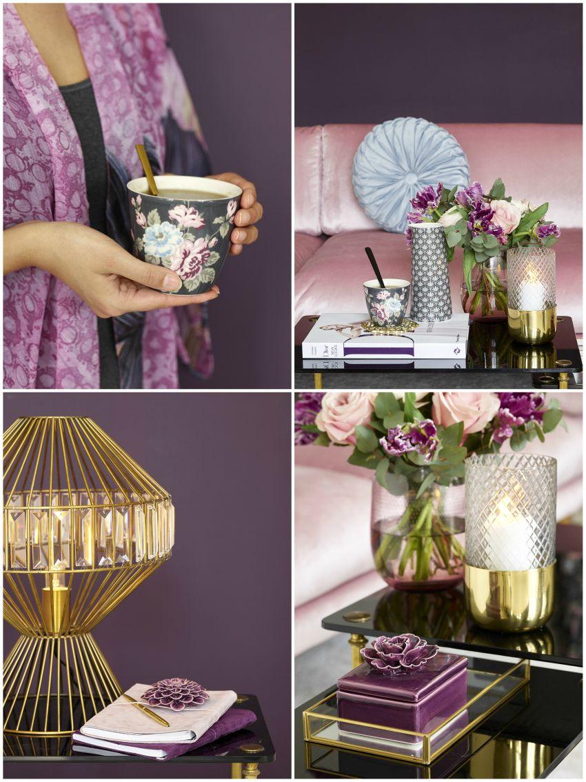 Réz dekoráció csésze, lámpa