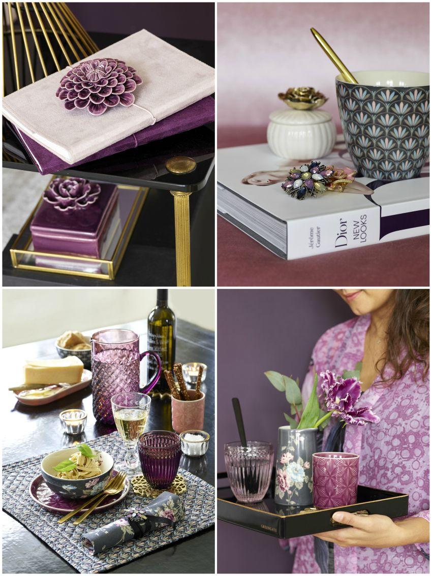 Lilás dekoráció, réz tárgyak