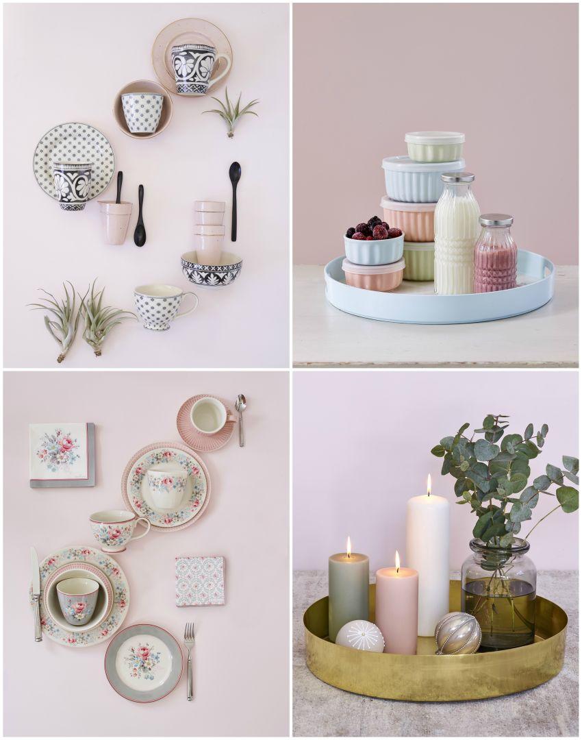 Púder szín, halvány rózsaszín, asztaldekoráció tányérok